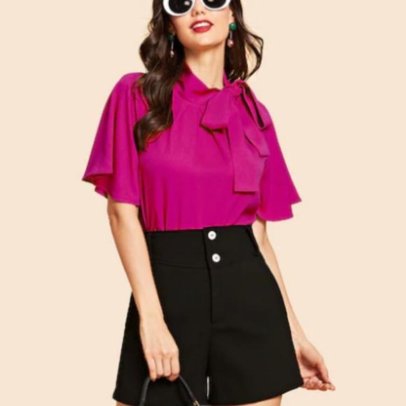 MediabyMedina Tops - Tie neck Flutter sleeve Hot Pink top Size L 8/10💞